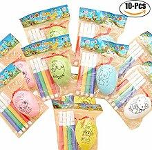 Funpa 10 STÜCKE DIY Ei Malerei Ostern Spielzeug Ei Dekoration Ei für Kindertag mit 40 STÜCKE Paint Pens