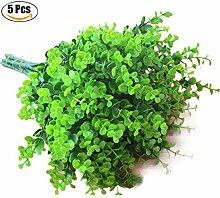 Funpa 5 Buns Kunststoff Pflanze Simulierte Eukalyptus Blätter Künstliche Strauch Hausgarten Dekorationen