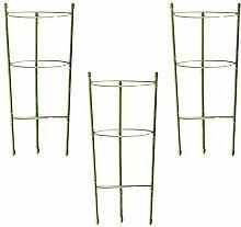 Funseedrr Garten Pflanze Unterstützung Planzstab Rankhilfe mit 3 verstellbare Ringe 45cm