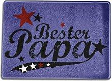 Funtasstic Glasschneidebrett Bester Papa (vintage)