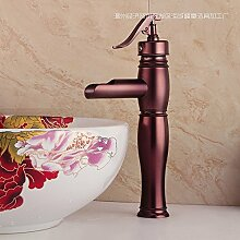Furesnts Moderne home Bad und Küche Wasserhahn Messing Flansch antiken europäischen Stil erinnert das antike reines Kupfer rose gold heissen und kalten Mixer Wasserhähne,(Standard G 3/8 Universalschlauch Ports)