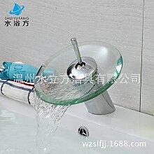 Furesnts Moderne home Küche und Bad Armatur alle Kupfer Waschbecken Waschbecken mit warmen und kalten einloch Glas Wasserfall Becken Personalisieren Sie moderne Sitzbank, Becken(Standard G 3/8 universal Schlauch Anschlüsse)