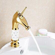 Furesnts moderne Home Küche und Bad Armatur Europäische Hochwertige vergoldete Wasserhähne Kupfer Golden Diamond warmes und kaltes Bad Waschbecken Waschbecken Mischbatterie taps Taps, Toilette(Standard G 3/8 Universalschlauch Ports)