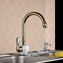 Furesnts moderne Home Küche und Bad Armatur ganze Geröstete weiße vergoldete Kupfer Taps Taps heißen und kalten Toilette Waschbecken Waschbecken Mischbatterie ,(Standard G 3/8 Universalschlauch Ports)