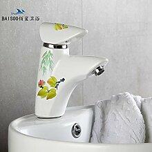 Furesnts moderne Küche zu Hause und Waschbecken Armaturen Europäische Retro alle Kupfer warme und kalte Küche Waschbecken Waschtisch Armatur Armaturen,(Standard G 3/8 universal Schlauch Anschlüsse)