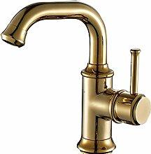 Furesnts Reine CopperGold Rotary Warmes und kaltes Wasser Waschbecken Armaturen Waschbecken Armaturen, (Standard G3/8 universal Schlauch Anschlüsse)