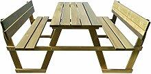 Furnituredeals Picknicktisch mit Rückenlehne Holz Kiefer imprägniert.Komfortable Modern und elegan