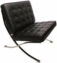 Furnwise Barcelona Stuhl Premium Leder Schwarz -