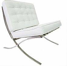 Furnwise Barcelona Stuhl Premium Leder Weiß -