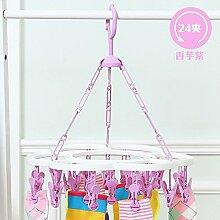 FuRongHuang Circular Plastik Strumpfwaren Kleiderbügel Multifunktions Baby Boy Multi Clip Kleiderbügel Unterwäsche Haken, 1, Lila Taro 24 Clip