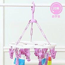 FuRongHuang Wind Kunststoff Lüftung Schelle Und Multi Clip-Funktion Baby Kleiderbügel Unterwäsche Socken Sonne Kleiderbügel, 1, Lila Taro 20 Clip
