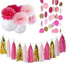 Furuix Fuchsia Rosa weißes Gold-Partei-Dekoration-Gewebe Pom Pom Installationssatz mit Gewebe-Papier-Troddel-Girlande Gewebe-Papier-Blumen für rustikale Hochzeits-Baby-Dusche, Geburtstagsfeier