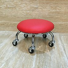 Fuß aus Holz Hocker Hocker Stühle Hocker mit Riemenscheibe Kind Walker Walker mit Baby Artefakt Multi Color Optional, 23 cm Rot Leder Double Rad