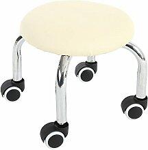 Fuß aus Holz Hocker Hocker Stühle, Hocker mit runder Hocker Kind Walker Hocker Home Leder Hocker Multi-Color Optional, 32 cm Creme Weiß