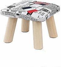 Fuß aus Holz Hocker Hocker Stühle Home kleinen Hocker Holz- stoff Runde Hocker für Kinder Wohnzimmer Hocker Sofa Hocker 1 Pack, Fahne Fangdeng