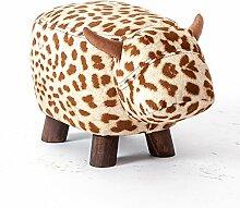 Fuß aus Holz Hocker Hocker Stühle Kleine Werkbank Kinder Stil kurze Hocker Cartoon Tier Muster Modellierung Home kreative Sofa Hocker 1 Packung, Leopard Waschbar