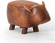 Fuß aus Holz Hocker Hocker Stühle Kleine Werkbank Kinder Stil kurze Hocker Cartoon Tier Muster Modellierung Home kreative Sofa Hocker 1 Pack, Gelb Braun