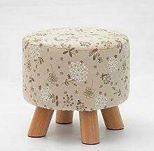 Fuß aus Holz Hocker Hocker Stühle Runden kleinen Hocker Fashion kreative Stoff waschbar Sofa Hocker nach Bank, Blümchen