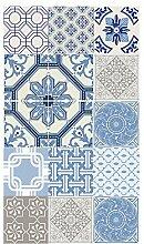 Fußabdruck Deco Teppich in türkisblauem Vinyl
