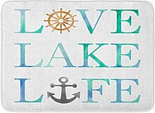 Fußabtreter,Badematte Love Lake Life Aquarell