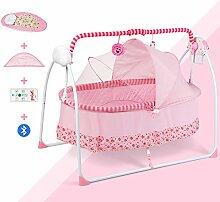 Fußbadewanne aus Holz Sexy Elektrische Wiege Bett Krippe Schlafkorb Schütteln Bett Neugeborenen Automatische Intelligente Nest Korb (Farbe : Pink-with Bluetooth+Remote)