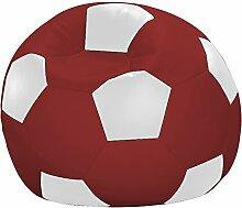 Fussball-Sitzsack, Farbe weiß/rot, Größe Ø 90 cm, 1000000005812