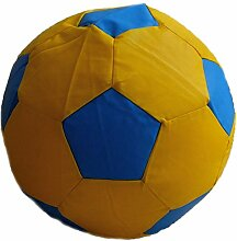 Fußball Sitzsack L Gelb-Blau (Kunstleder/ ⌀60cm/ 160l EPS-Perlen)