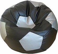 Fußball Sitzsack L Schwarz - Silber (Kunstleder/ ⌀60cm/ 160l EPS-Perlen)