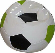 Fußball Sitzsack L Weiß-Schwarz-Hellgrün (Kunstleder/ ⌀60cm/ 160l EPS-Perlen)