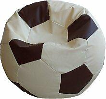 Fußball Sitzsack XL Beige-Braun (Kunstleder/ ⌀70cm/ 280l EPS-Perlen)