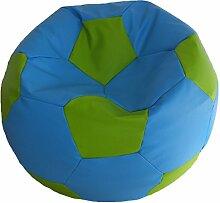 Fußball Sitzsack XL Grün - Blau (Kunstleder/ ⌀70cm/ 280l EPS-Perlen)