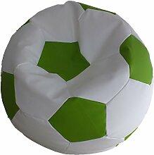 Fußball Sitzsack XL Weiß-Grün (Kunstleder/ ⌀70cm/ 280l EPS-Perlen)