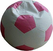 Fußball Sitzsack XL Weiß-Rosa (Kunstleder/ ⌀70cm/ 280l EPS-Perlen)