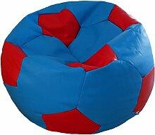 Fußball Sitzsack XXL Blau - Rot (Kunstleder/ ⌀100cm/ 325l EPS-Perlen)