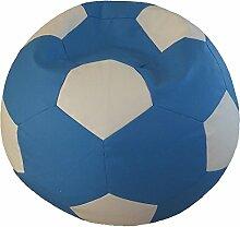 Fußball Sitzsack XXL Blau - Weiß (Kunstleder/ ⌀100cm/ 325l EPS-Perlen)