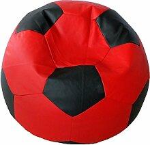 Fußball Sitzsack XXL Rot - Schwarz (Kunstleder/ ⌀100cm/ 325l EPS-Perlen)