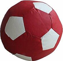 Fußball Sitzsack XXL Rot - Weiß (Kunstleder/ ⌀100cm/ 325l EPS-Perlen)