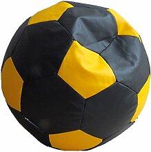Fußball Sitzsack XXL Schwarz - Gelb (Kunstleder/ ⌀100cm/ 325l EPS-Perlen)