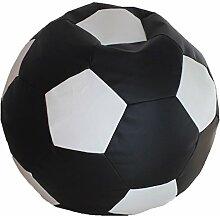Fußball Sitzsack XXL Schwarz - Weiß (Kunstleder/ ⌀100cm/ 325l EPS-Perlen)