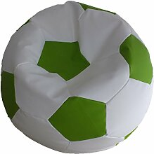 Fußball Sitzsack XXL Weiß - Grün (Kunstleder/ ⌀100cm/ 325l EPS-Perlen)
