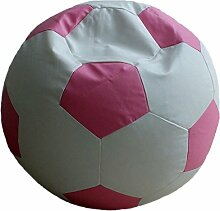 Fußball Sitzsack XXL Weiß - Rosa (Kunstleder/ ⌀100cm/ 325l EPS-Perlen)