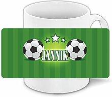 Fußball-Tasse mit Namen Jannik und schönem Motiv