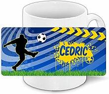 Fußballtasse mit Namen Cedric und schönem