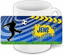Fußballtasse mit Namen Jens und schönem