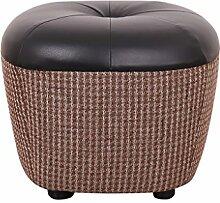 Fußbank Kuhfell Ottoman Hocker Toy Box Fußhocker Seat Single in schwarz Sofa Hocker