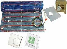 Fußbodenheizung '2systems' als kombinierte Warmwasser- & Elektroheizung von 2,5 bis 10m² | 2 Temperatur Regler zur Wahl | inklusive Temperaturfühlerleitung , Fläche:7.5 qm, Regler:RTL Box und Digital Regler 520