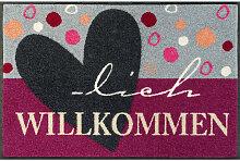 FUßMATTE 50/75 cm Grau, Violett
