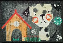 FUßMATTE 50/75 cm Hund Grau, Multicolor