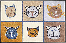FUßMATTE 50/75 cm Katze Braun, Multicolor, Beige