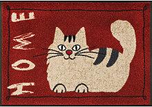 FUßMATTE 50/75 cm Katze Rot, Beige